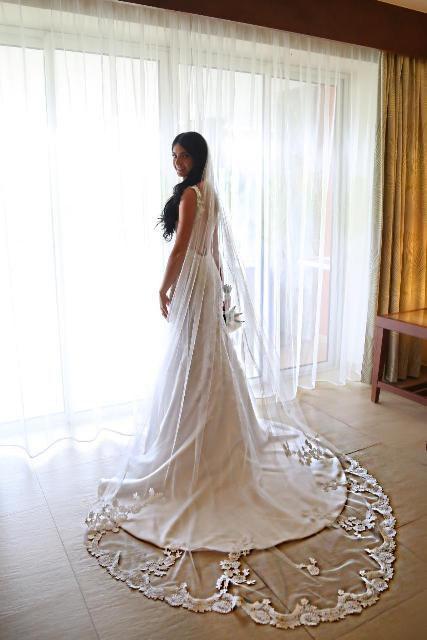 "Mariage - Wedding veil with training mantilla. Cathedral veil 108"" length."
