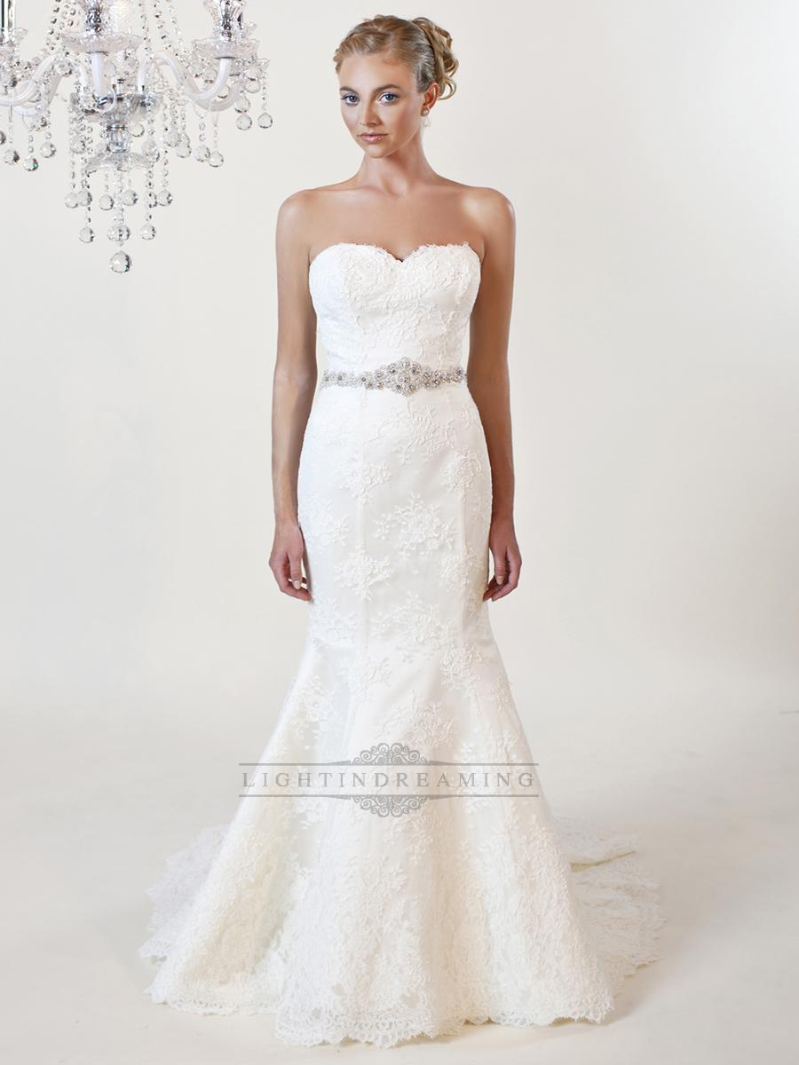 Strapless mermaid sweetheart lace wedding dresses with for Beaded lace mermaid wedding dress