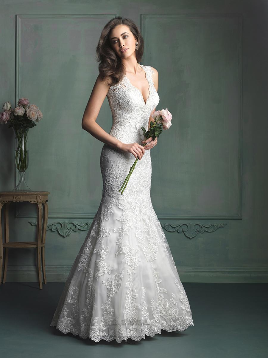 Свадьба - Gorgeous Straps Plunging V-neck Mermaid Wedding Dresses with Keyhole Back - LightIndreaming.com