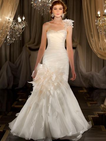 Wedding - One-shoulder Ruched Sweetheart Mermaid Wedding Dress