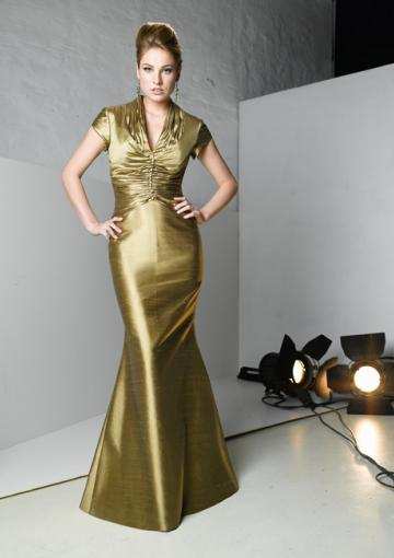 Свадьба - 2015 V-neck Satin Short Sleeves Zipper Floor Length Mermaid