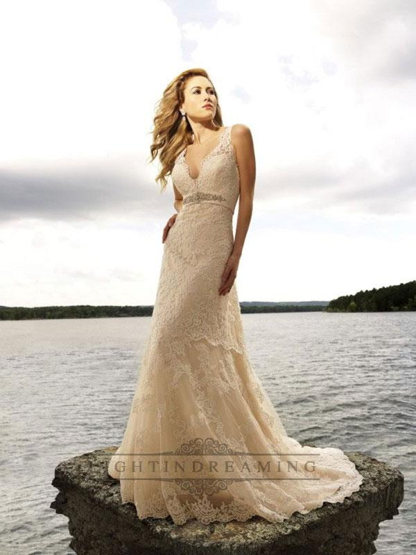 Wedding - Champagne Straps Sleeveless Empire V-neck Lace Wedding Dresses - LightIndreaming.com