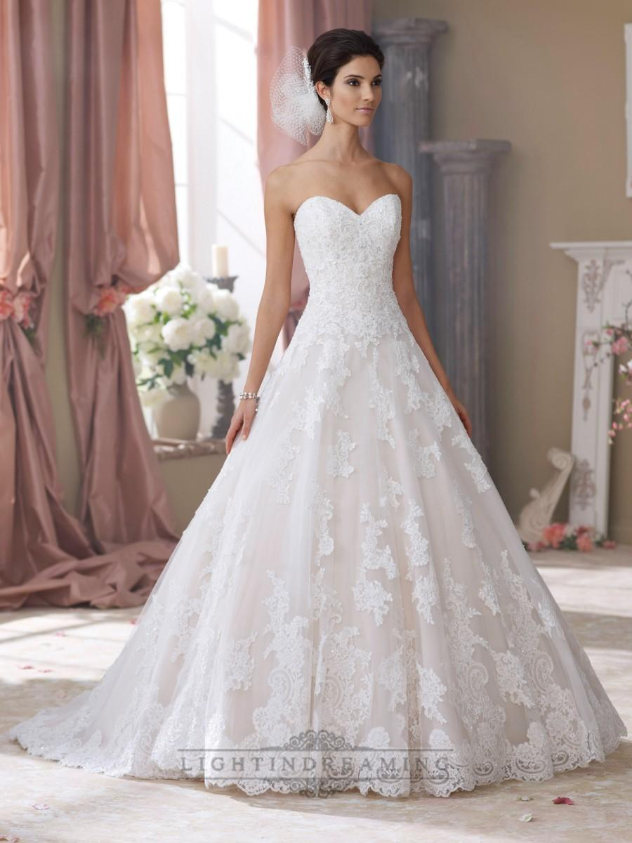 Wedding - Strapless Sweetheart Lace Appliques Ball Gown Wedding Dresses - LightIndreaming.com