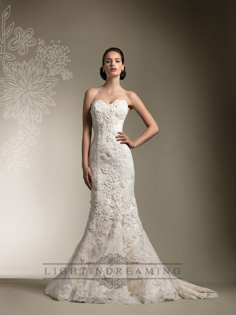 Свадьба - Trumpet Lace Appliques Beaded All Lace Over Wedding Dresses with Long Sleeve Jacket - LightIndreaming.com