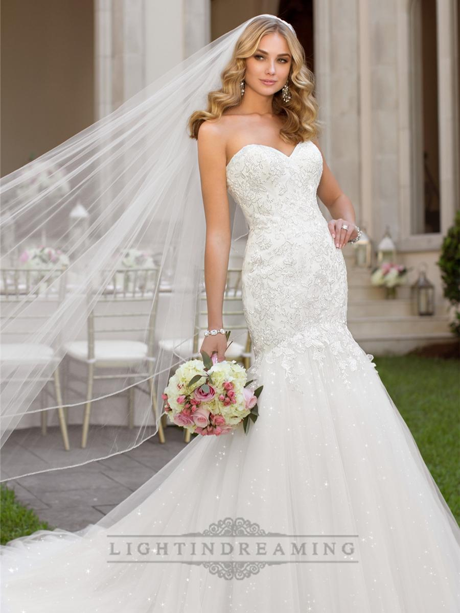 Mariage - Fit and Flare Sweetheart Lace Appliques Crystal Beaded Wedding Dresses - LightIndreaming.com