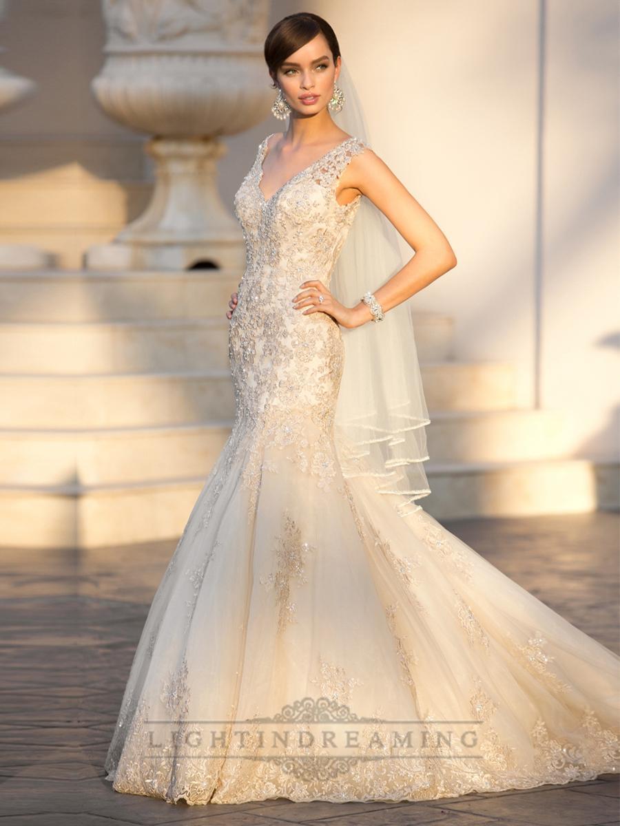 Mariage - Elegant Straps Pluging V-neck Beaded Lace Wedding Dresses with Deep V-back - LightIndreaming.com