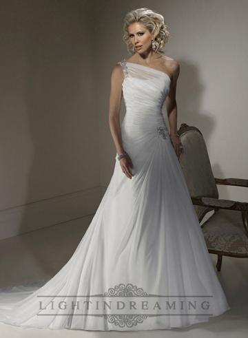 Nozze - A-line Wedding Dress with One Shoulder Neckline and Corset Closure