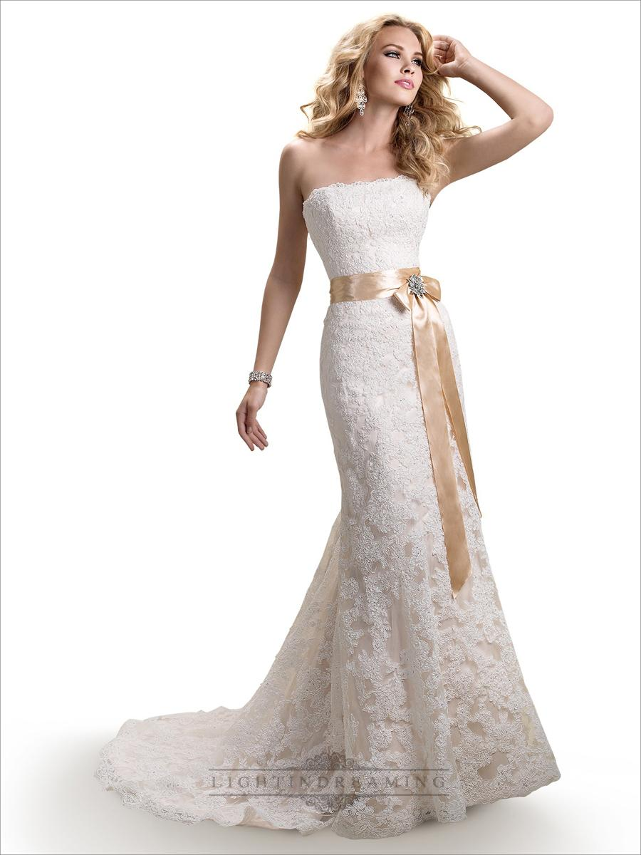 Strapless Slim A-line Lace Wedding Dresses With Satin Ribbon Waist ...