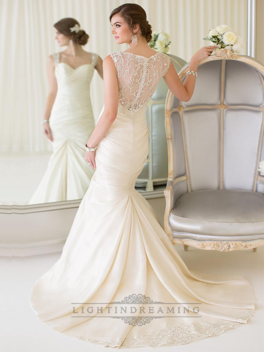Wedding - Luxury Beaded Straps Fit and Flare Sweetheart Wedding Dresses with Illusion Back - LightIndreaming.com