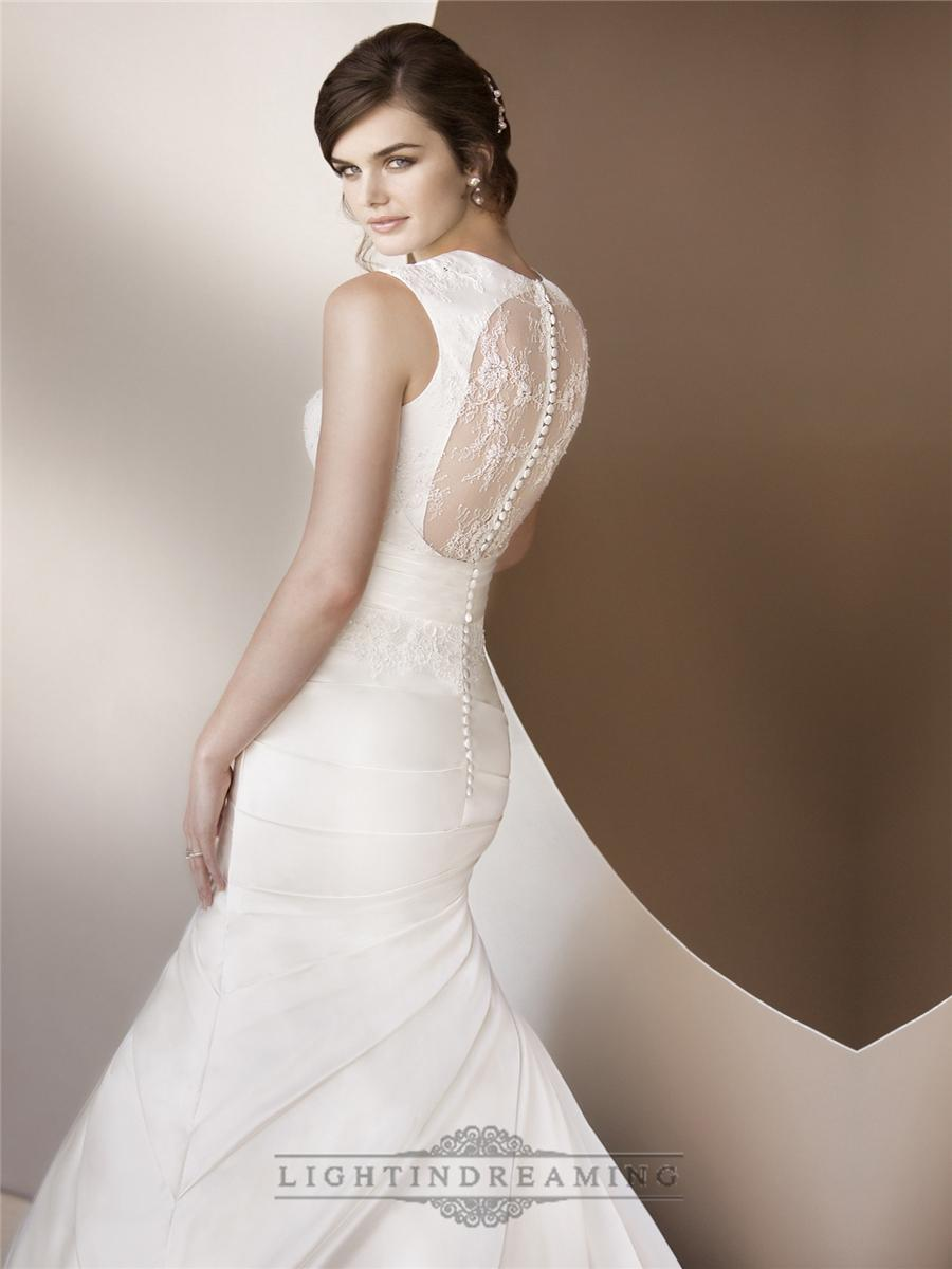 Wedding - Luxury Trumpet Queen Anne Neckline Wedding Dresses with Illusion Keyhole Back - LightIndreaming.com