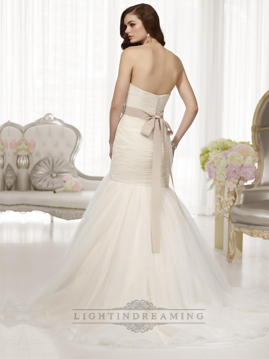 Mariage - Fit and Flare Sweetheart Ruched Bodice Wedding Dresses with Detachable Beading Belt - LightIndreaming.com