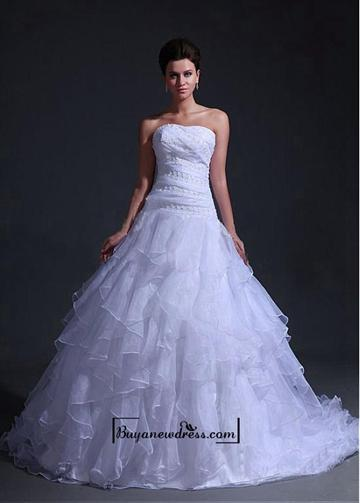 Alluring organza satin ball gown sweetheart neckline for Sweetheart neckline drop waist wedding dress