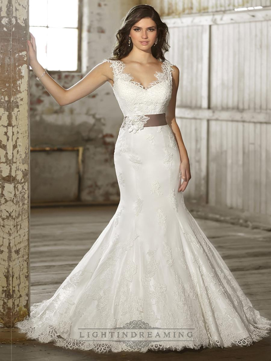 Mariage - Straps V-neck Trumpet Lace Wedding Dresses with Deep V-back - LightIndreaming.com