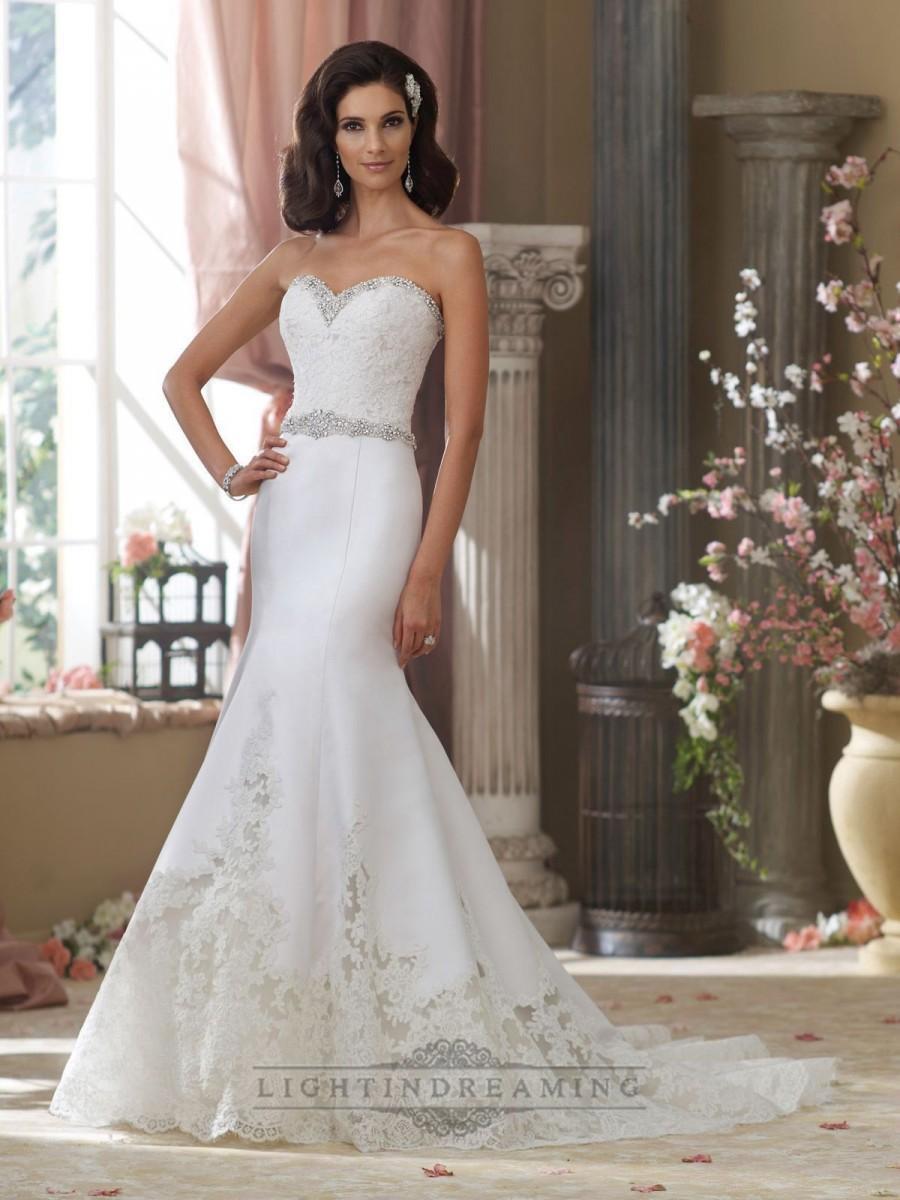 Свадьба - Beaded Sweetheart Lace Appliques Mermaid Wedding Dresses with Jeweled Band Waist - LightIndreaming.com