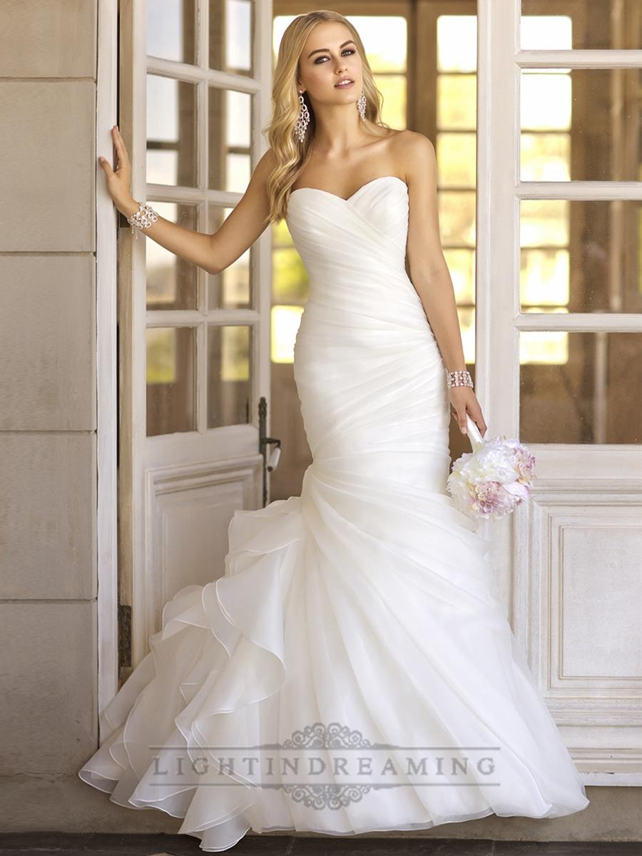 Mariage - Trumpet Asymmetrical Pleated Bodice Sweetheart Vintage Wedding Dresses - LightIndreaming.com
