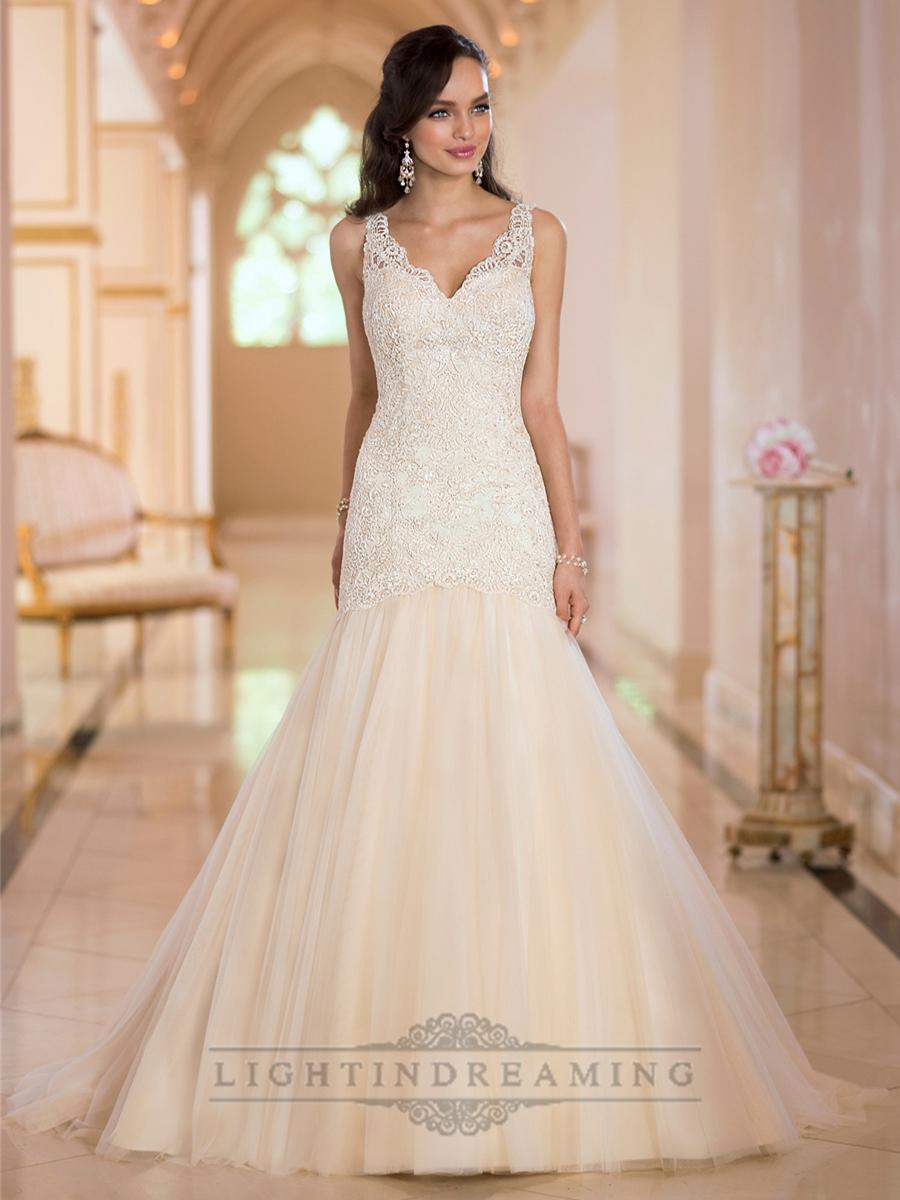 Wedding - Glamorous Straps Lace Mermaid V-neck Wedding Dresses with Open V-back - LightIndreaming.com