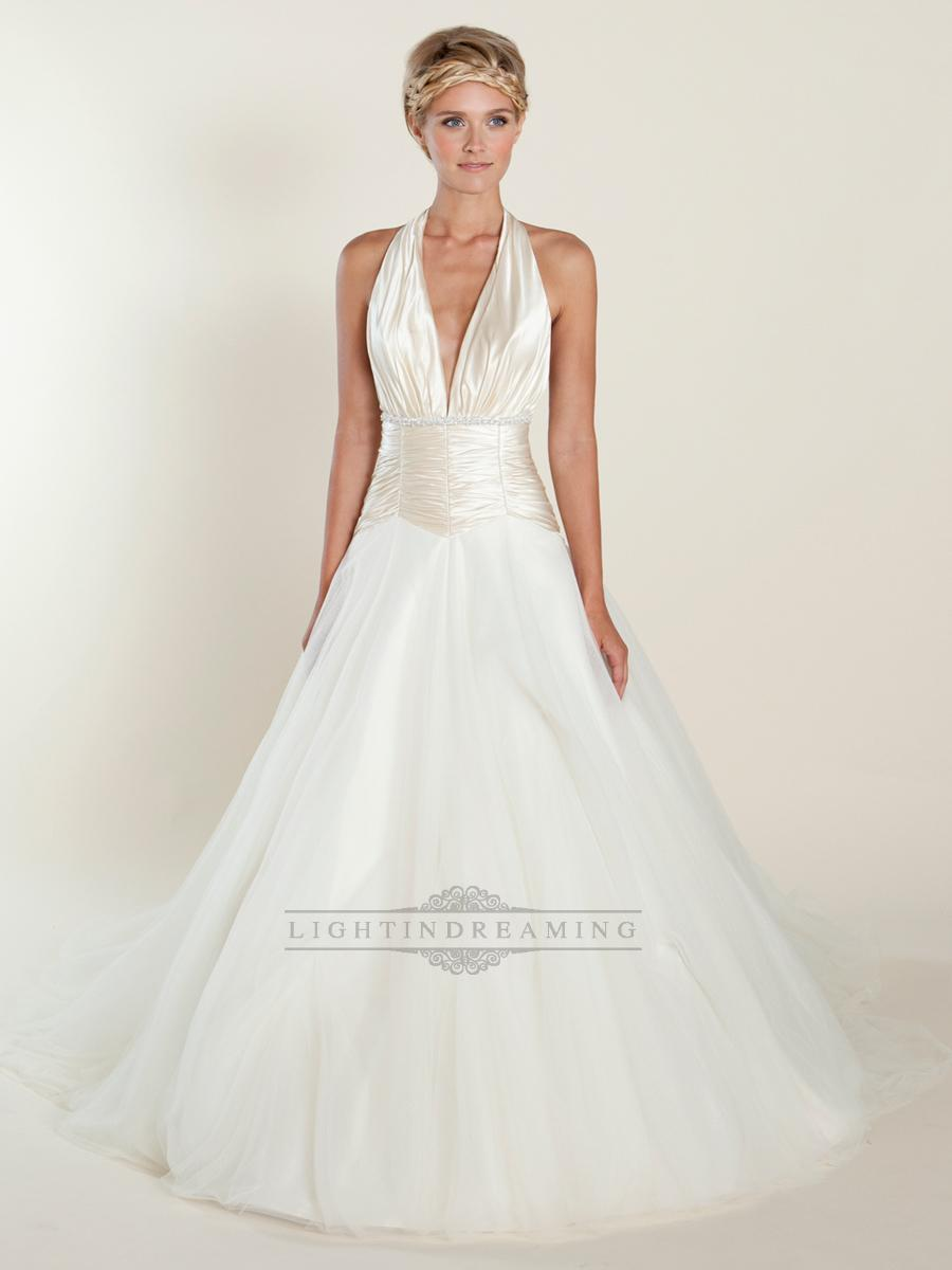 Wedding - A-line Plunging Halter Ball Gown Wedding Dresses with Ruched Bodice - LightIndreaming.com