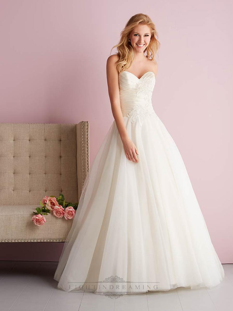 زفاف - Strapless Sweetheart Ruched Bodice Embroidered Ball Gown Wedding Dresses - LightIndreaming.com