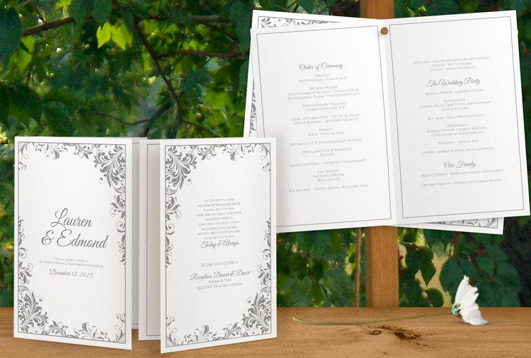Hochzeit - SALE! DiY Printable Wedding Program Template - Instant Download - EDITABLE TEXT - Romance (Gray) - Microsoft® Word Format
