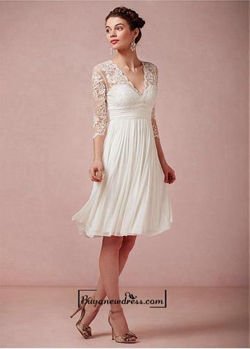 Amazing Tulle Chiffon Satin A Line V Neck Empire Waist Short Wedding Dress