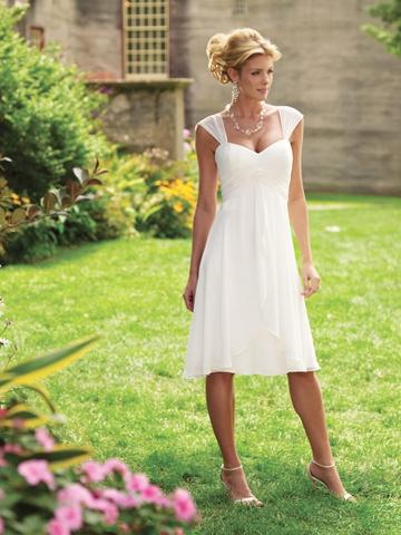 Wedding - Chiffon Tea-length Sweetheart A-line Wedding Dress with Gathered Tapered Straps