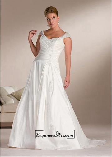 Boda - Beautiful Elegant Exquisite A-line Taffeta Wedding Dress In Great Handwork