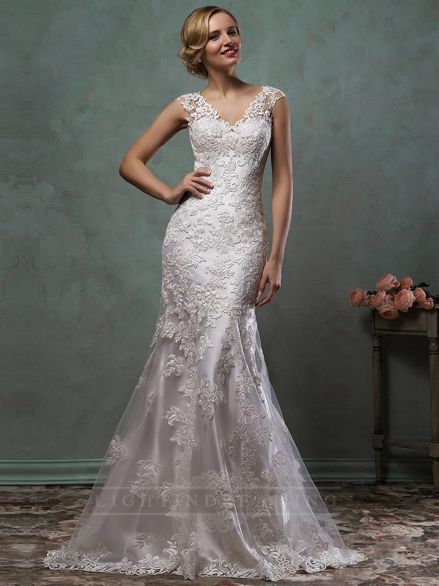 Düğün - Cap Sleeves V Neck Lace Embroidery Fit Flare Trumpet Mermaid Wedding Dress - LightIndreaming.com