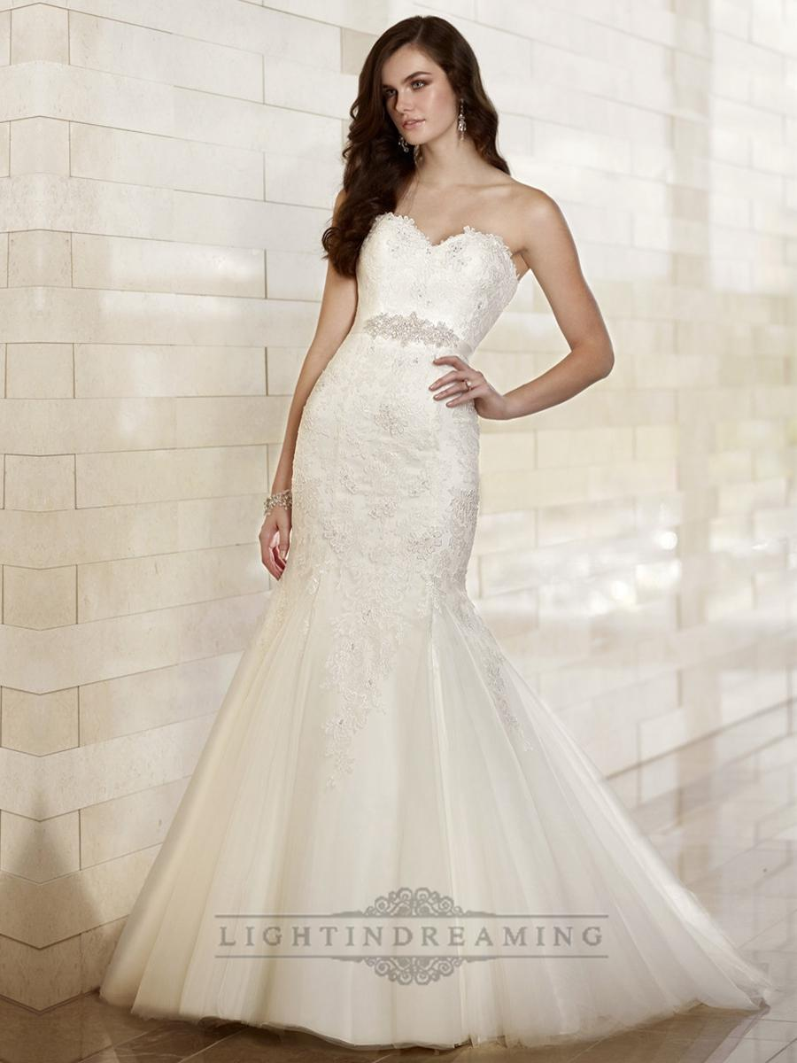 Hochzeit - Fit and Flare Sweetheart Lace Appliques Wedding Dresses - LightIndreaming.com