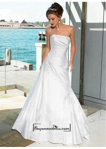 Mariage - Beautiful Elegant A-line Strapless Taffeta Wedding Dress In Great Handwork