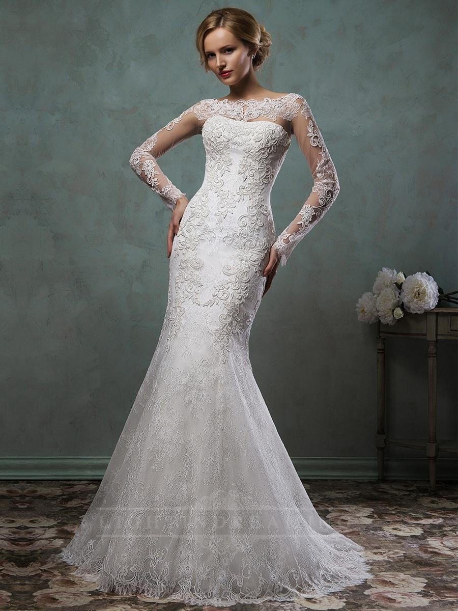 Sheer Lace Sleeves Bateau Neckline Fit And Flare Trumpet Mermaid ...