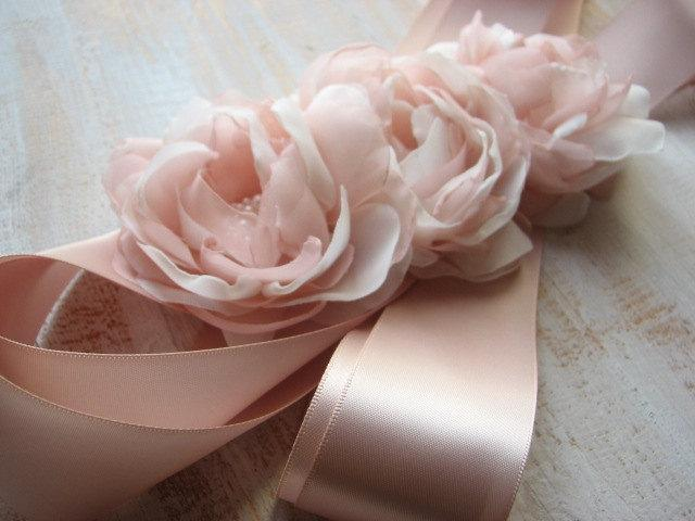 Mariage - Blush ribbon sash Blush sash Blush ivory wedding sash Ivory blush sash Blush wedding dress Ivory blush dress Blush wedding Blush bridal belt