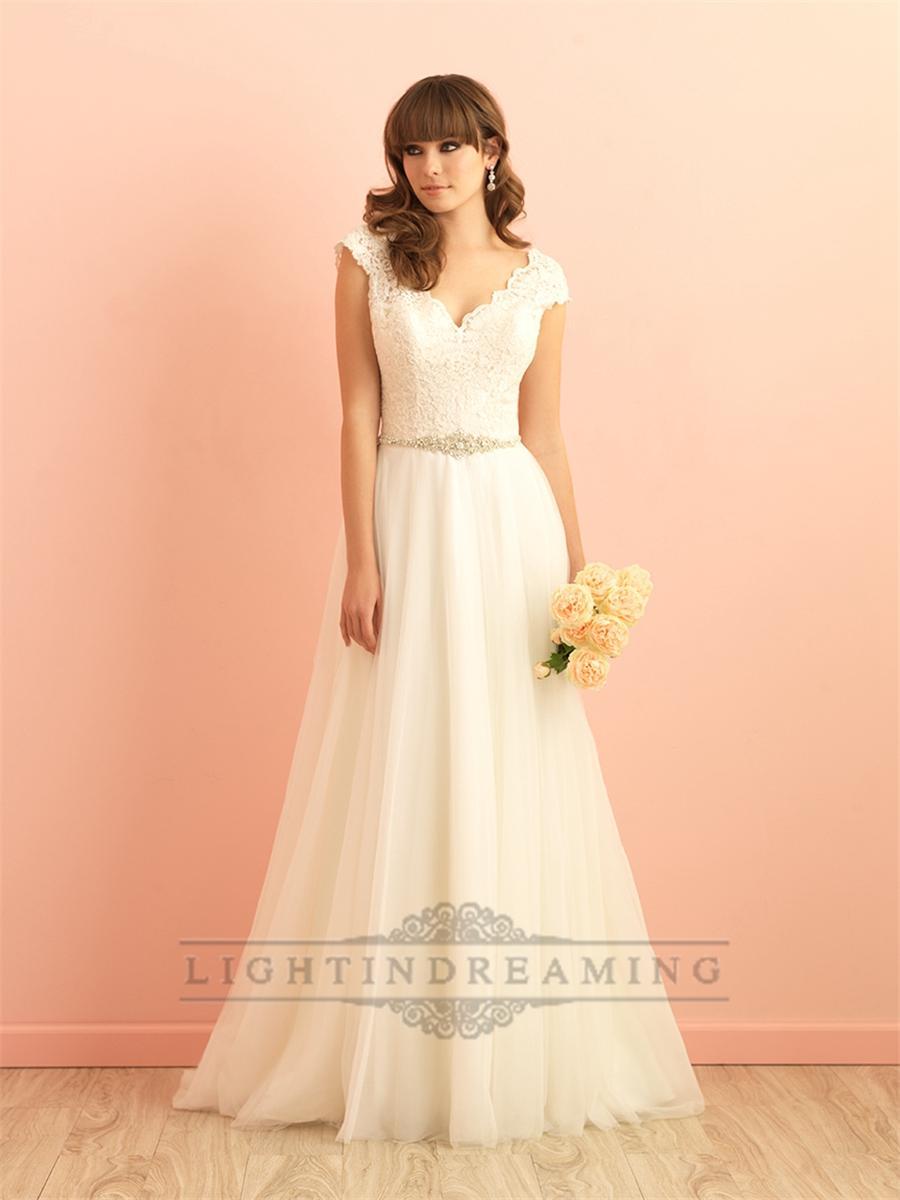 Düğün - Cap Sleeves V neckline A-line Lace Wedding Dress with Deep V-back - LightIndreaming.com