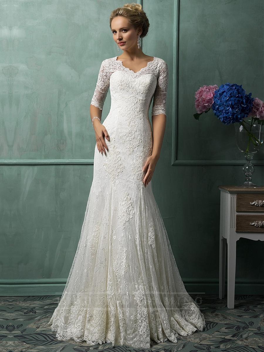 Half Sleeves V Neckline Lace Wedding Dresses Lightindreaming