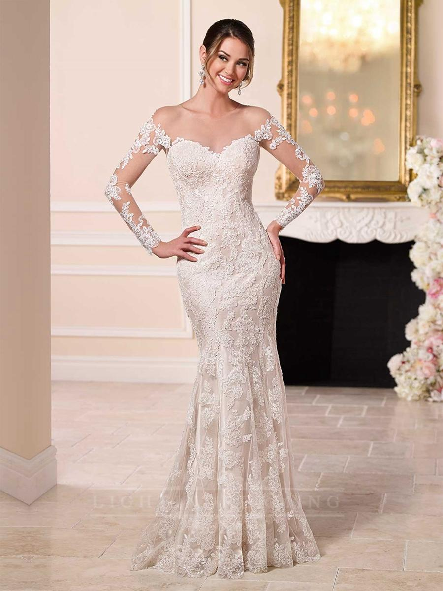 Off the shoulder lace over wedding dress featured illusion for Lace off the shoulder wedding dresses