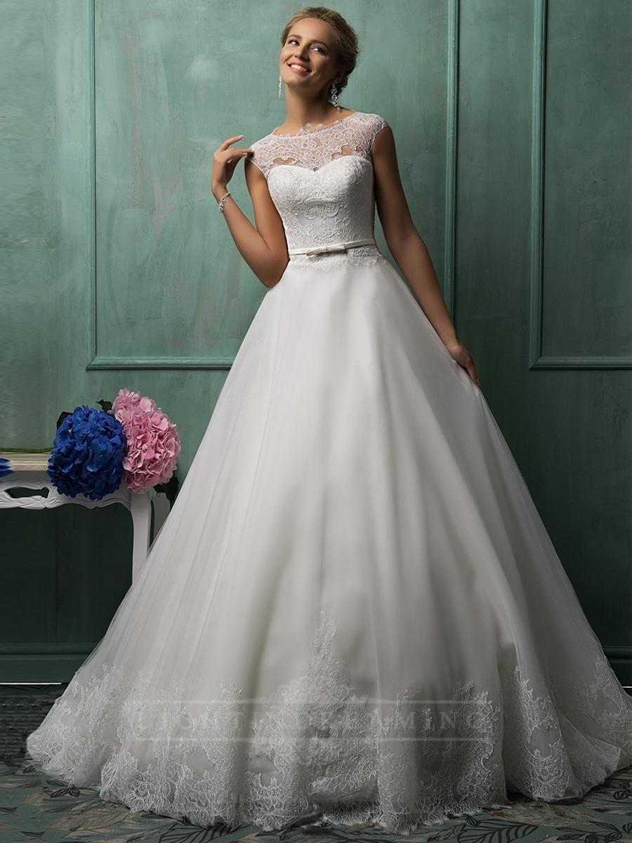 Wedding - Cap Sleeves Illusion Neckline A-line Wedding Dresses - LightIndreaming.com