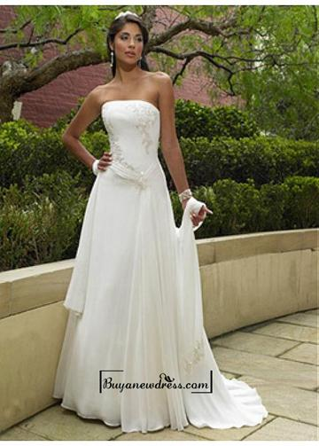 Hochzeit - Beautiful Elegant Chiffon Sheath Strapless Wedding Dress In Great Handwork