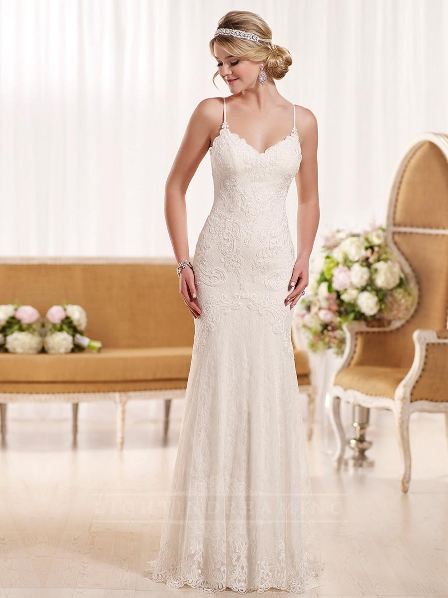 Elegant Spaghetti Straps Sheath Lace Wedding Dress Lightindreaming