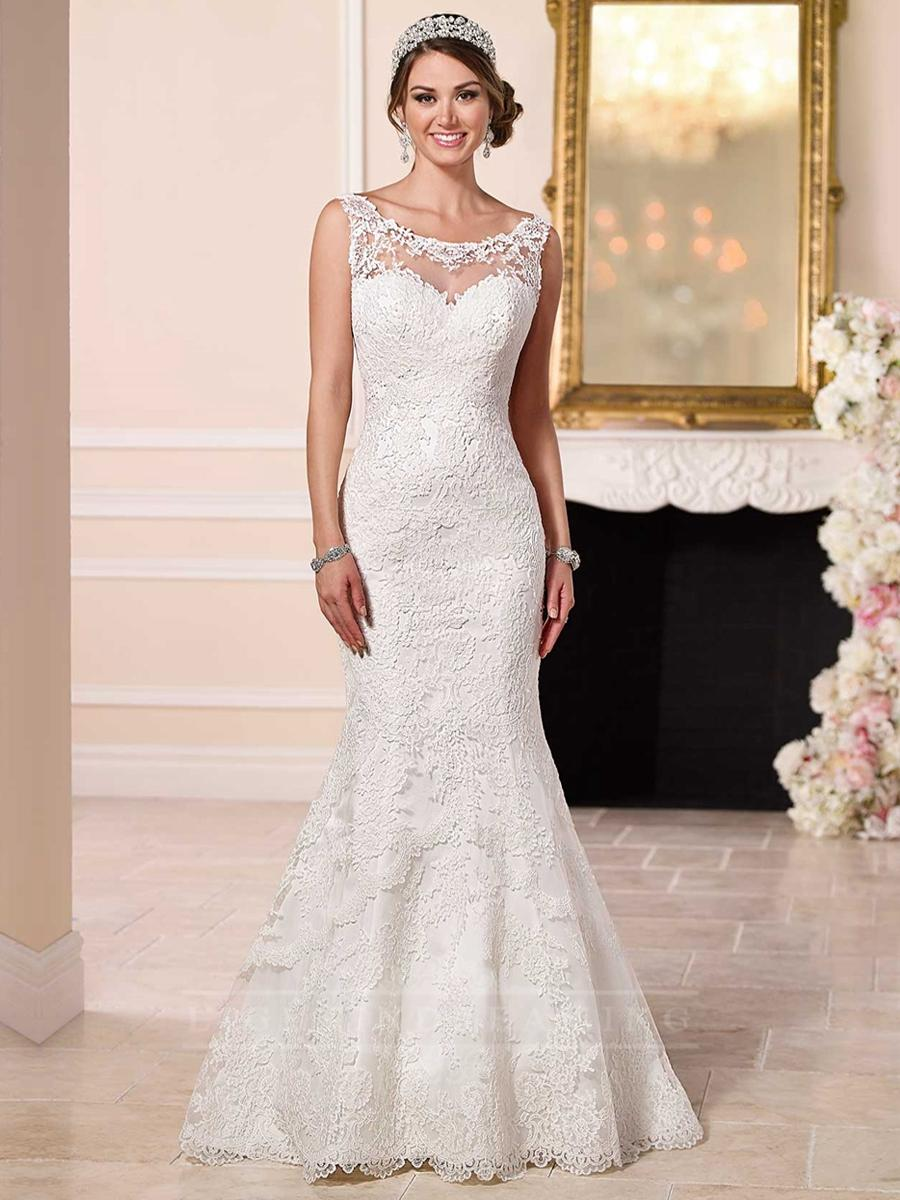 Bateau illusion lace sweetheart neckline low back wedding for Lace low back wedding dress