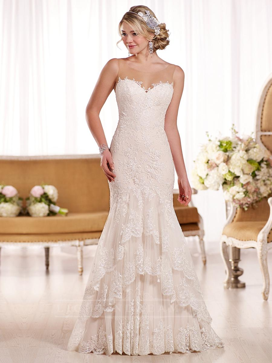 Sheer Sweetheart Fit And Flare Vintage Wedding Dress With Illusion Neckline Lightindreaming
