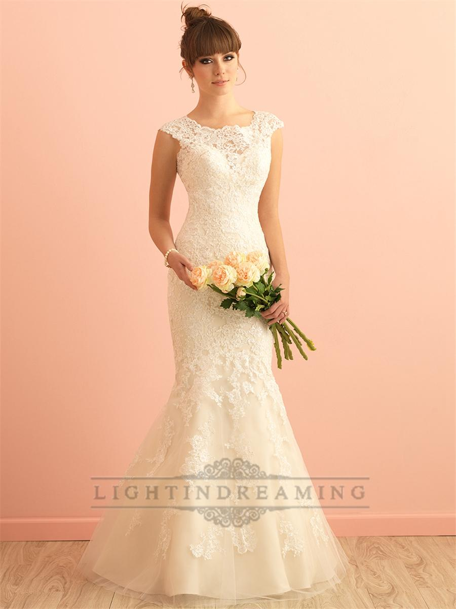 Wedding - Gorgeous Scoop Neckline Mermaid Lace Wedding Dress with Illusion Back - LightIndreaming.com