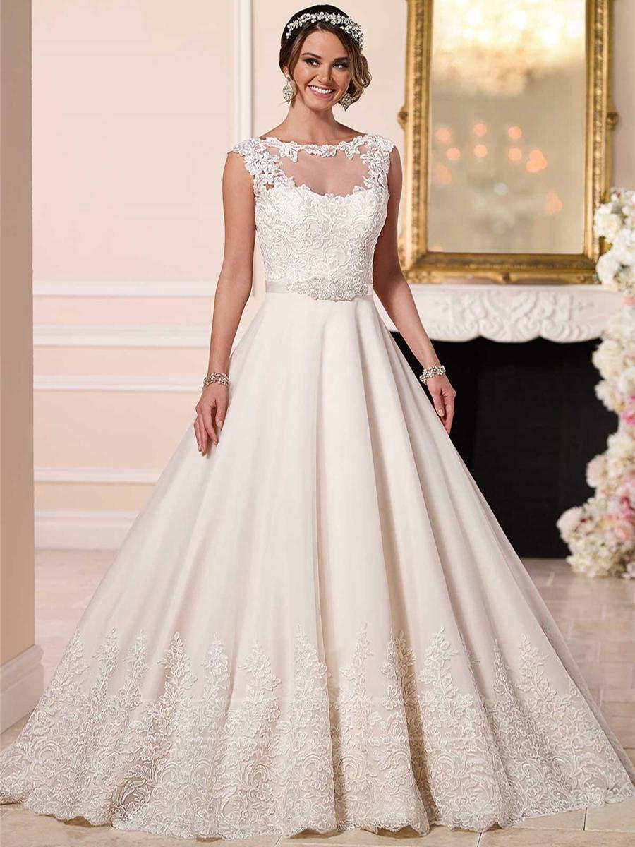 A line wedding dresses with detachalbe illusion lace for Lace jackets for wedding dresses