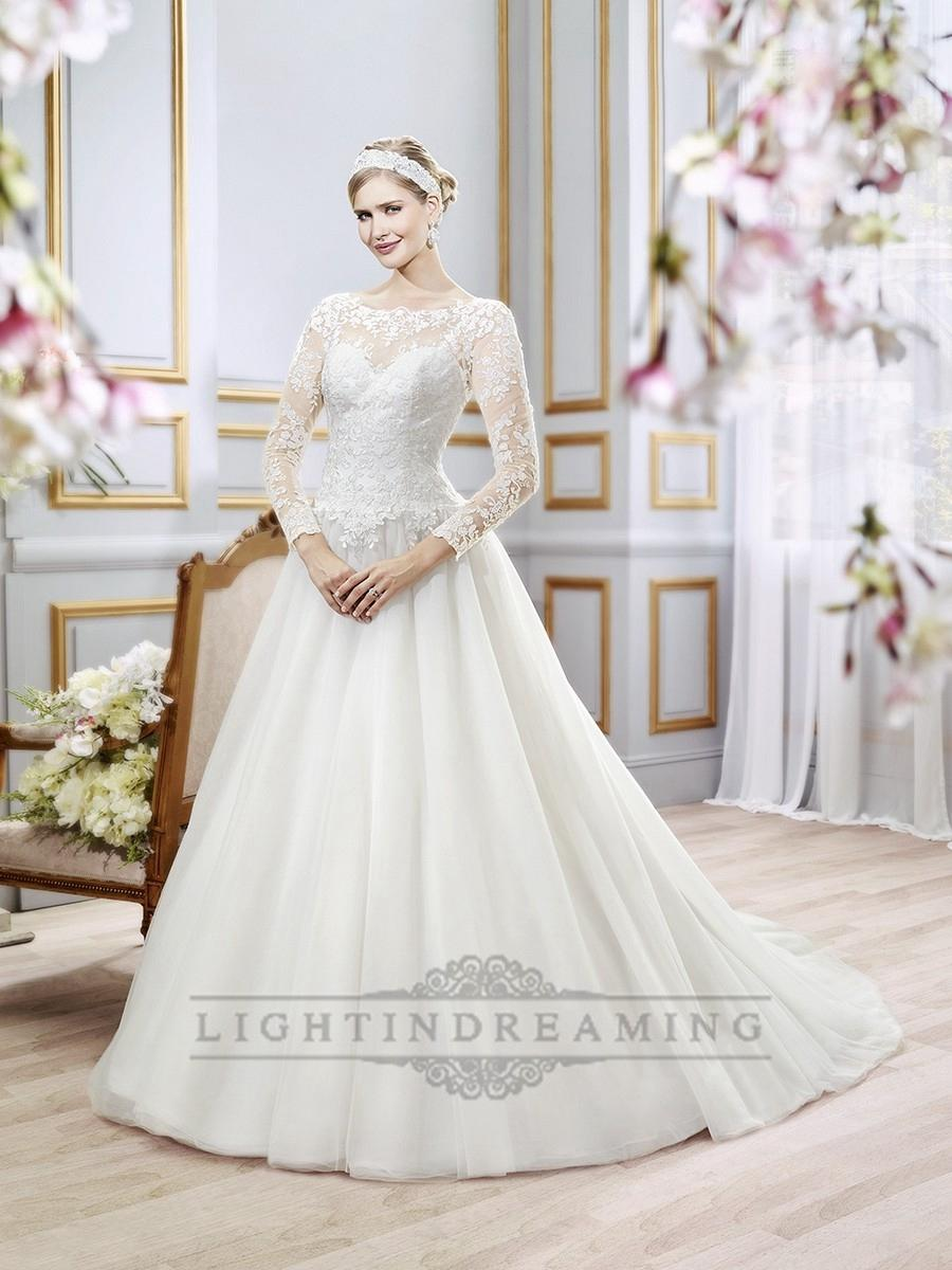 Wedding - Illusion Lace Long Sleeves Bateau Neckline Ball Gown Wedding Dress with Deep V-back - LightIndreaming.com