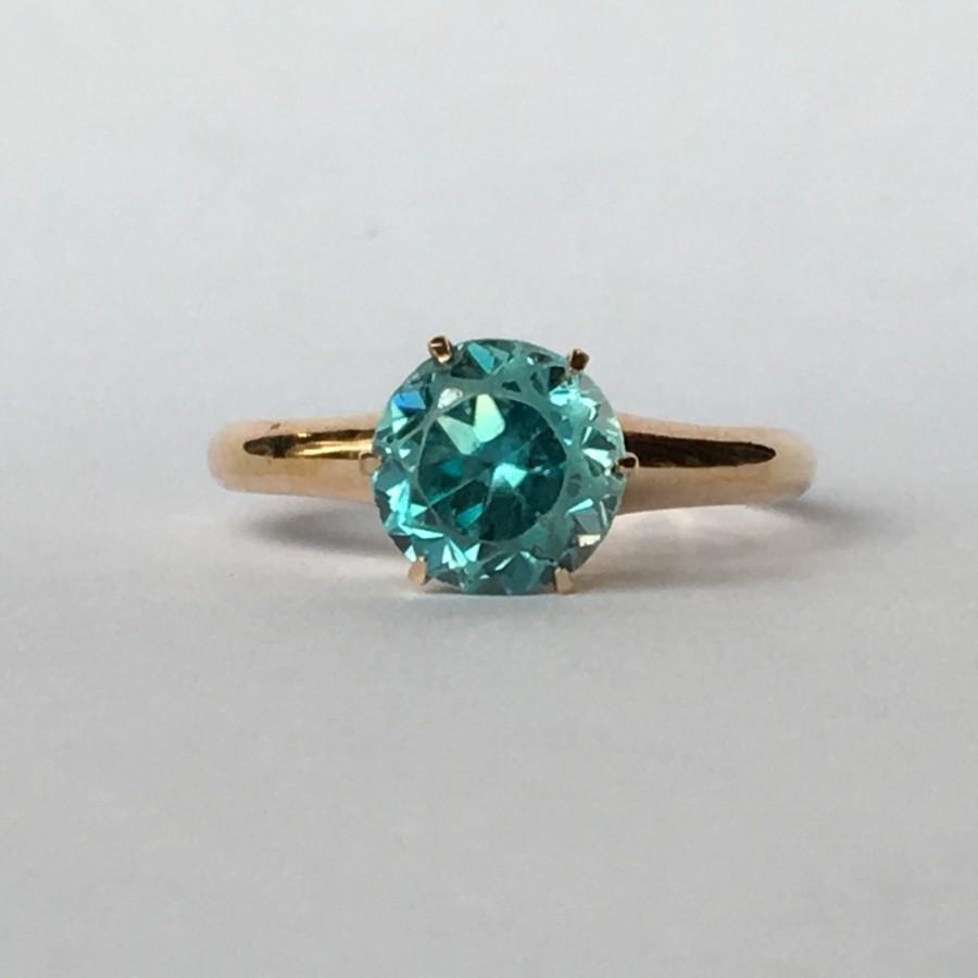 Vintage Swiss Blue Topaz Ring In 10k Rose Gold Setting Unique