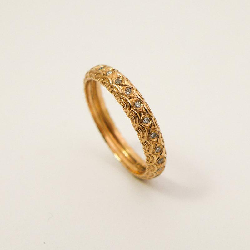 Wedding - Unique engagement ring, Rose gold and diamonds wedding band, Vintage style engagement ring, 14 karat gold  diamond band, Women's gold ring