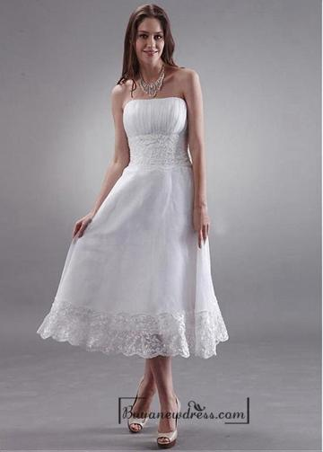 b8e7c9ed3ba6 Beautiful Organza & Lace A-line Strapless Empire Waist Tea Length Wedding  Dress