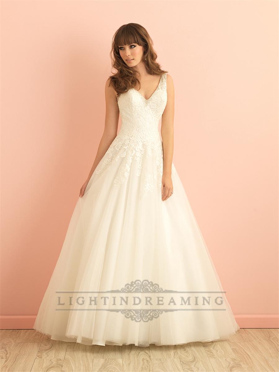 V neck a line lace wedding dress with deep v back for Deep v back wedding dress