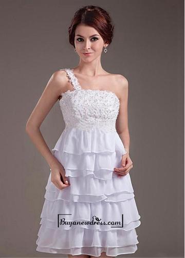 Свадьба - Beautiful Chiffon & Satin A-line One Shoulder Knee Length Wedding Dress