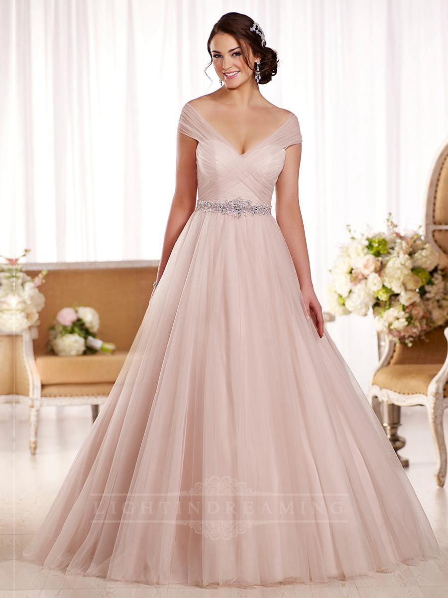 Off the shoulder ruched bodice a line slimming wedding for Slimming undergarments for wedding dresses