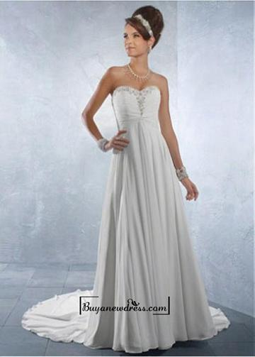 Свадьба - Beautiful Chiffon & Satin Empire Sweetheart Neck Raised Waistline Wedding Dress