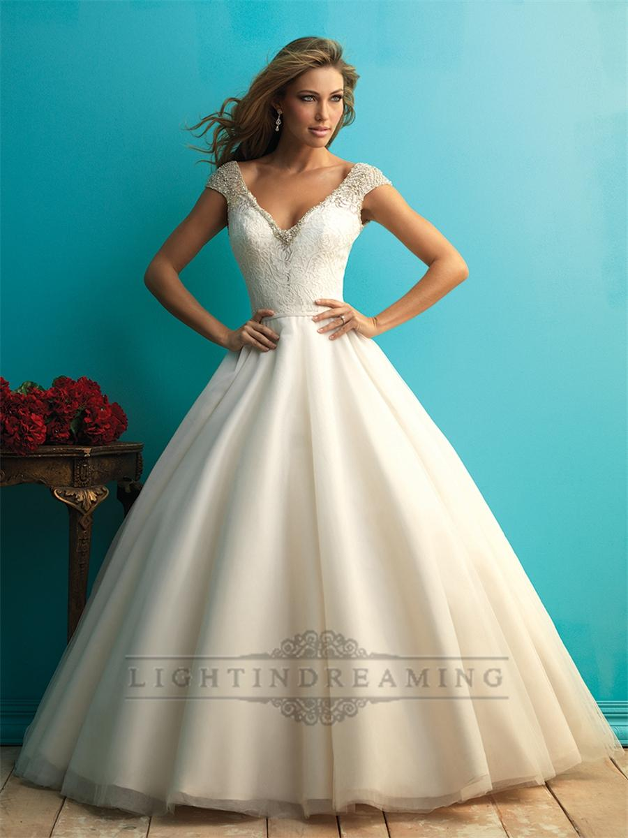Düğün - Beaded Cap Sleeves A-line Ball Gown Wedding Dress with Scoop Back - LightIndreaming.com